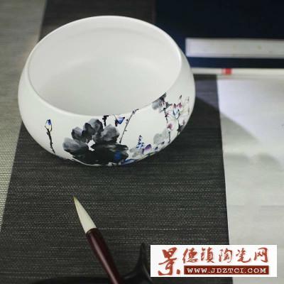 景德镇毛笔文房四宝书法绘画陶瓷工艺品聚宝盆手绘陶瓷仿古笔洗