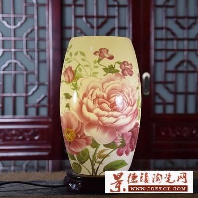 景德镇灯具专业陶瓷厂家定做可加LOGO的陶瓷台灯
