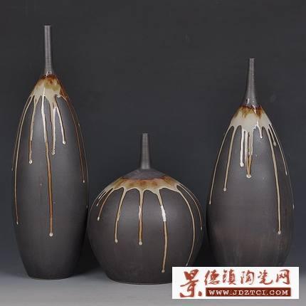 景德镇陶瓷窑变花瓶陶罐摆件客厅花瓶电视柜装饰陶瓷花瓶三件套