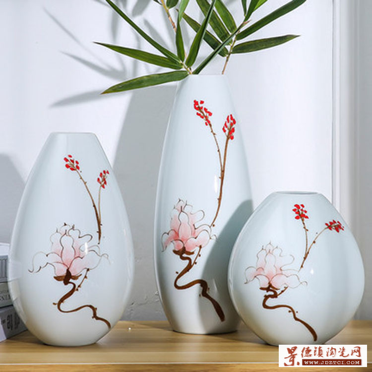 陶瓷中式花瓶摆件三件套插花假花花瓶