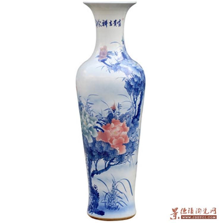 景德镇陶瓷中式青花瓷大花瓶摆件客厅酒店装饰品落地大号开业送礼