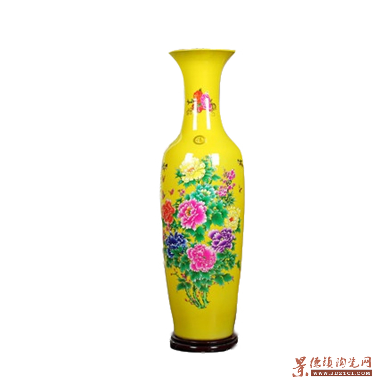 景德镇陶瓷器中国红色高客厅落地大花瓶电视柜装饰品摆件大号特大