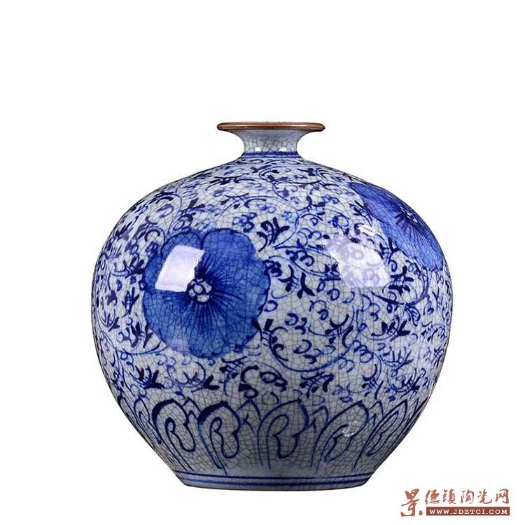 陶瓷器手绘仿古青花瓷花瓶插花客厅摆件