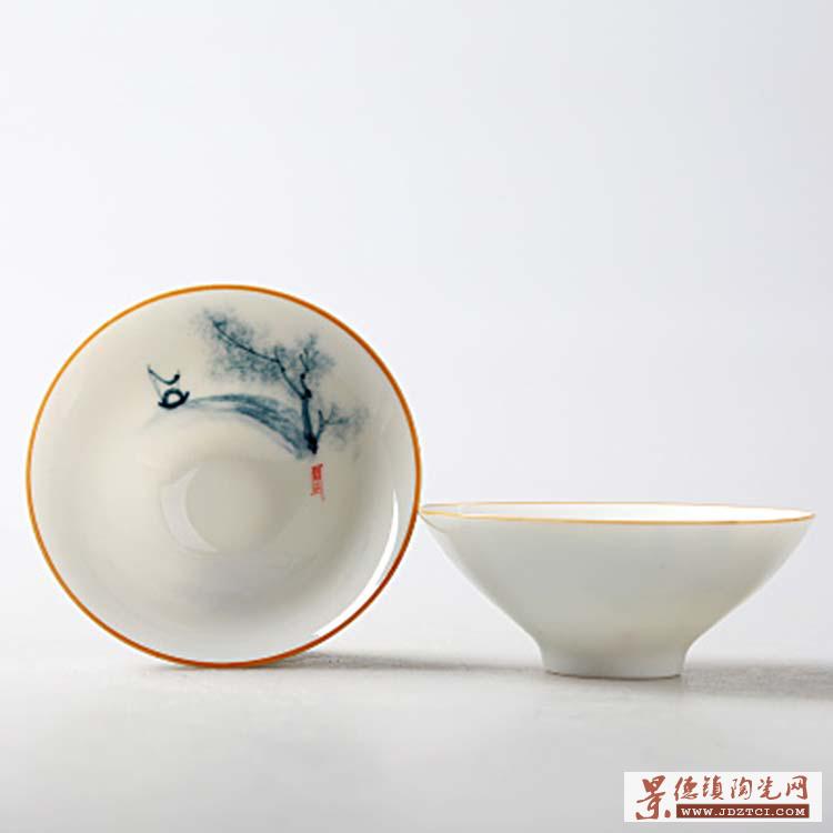 品茗杯陶瓷景德镇上水瓷个人杯斗笠单杯