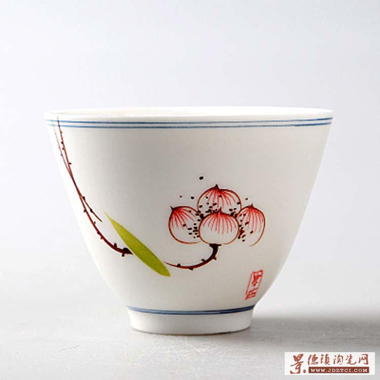 景德镇青花瓷功夫大号茶杯手绘陶瓷品茗杯