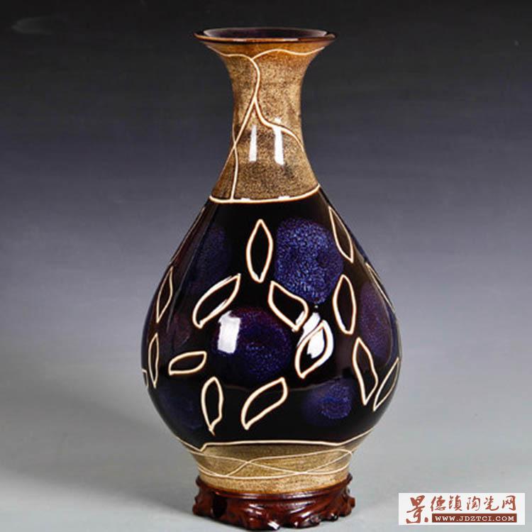 酒店客房色釉陶瓷花瓶桌面摆件
