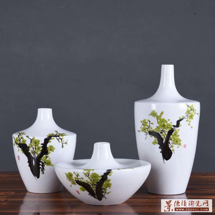 景德镇供应简约现代手绘花瓶三件套花插欧式创意家居花瓶软装陶瓷摆件