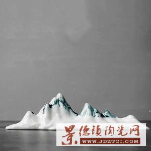 中式手工山形陶瓷雕塑招财摆件山水装饰工艺品山笔架笔搁