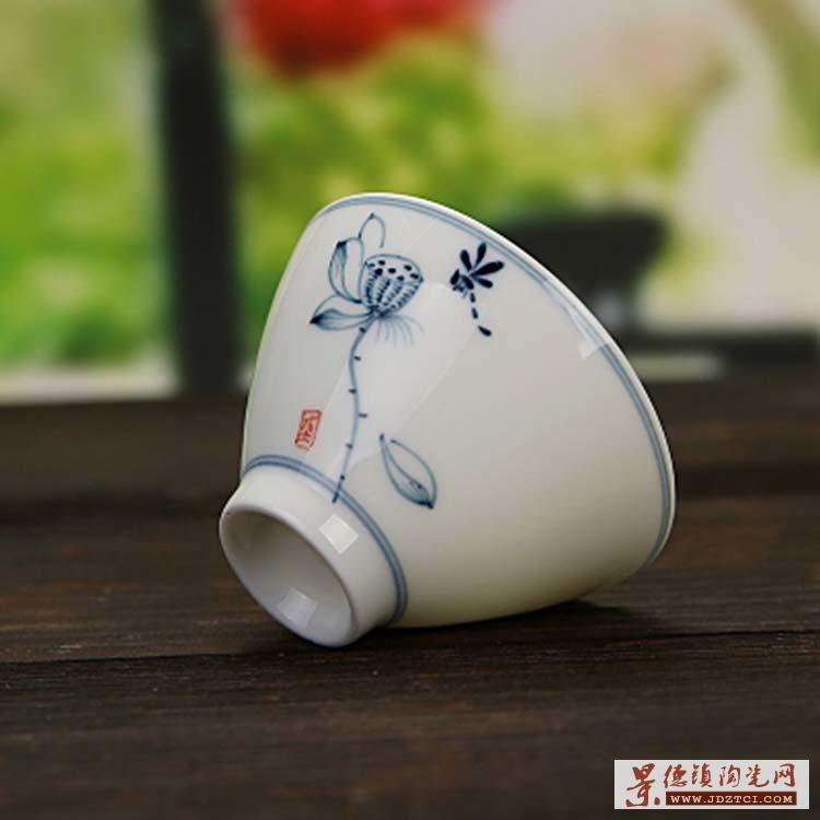 手绘品茗杯陶瓷单个白瓷茶盏