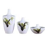 景德镇手绘陶瓷落地清新简约纤细大花瓶家居现代客厅摆件插花瓷瓶三件套