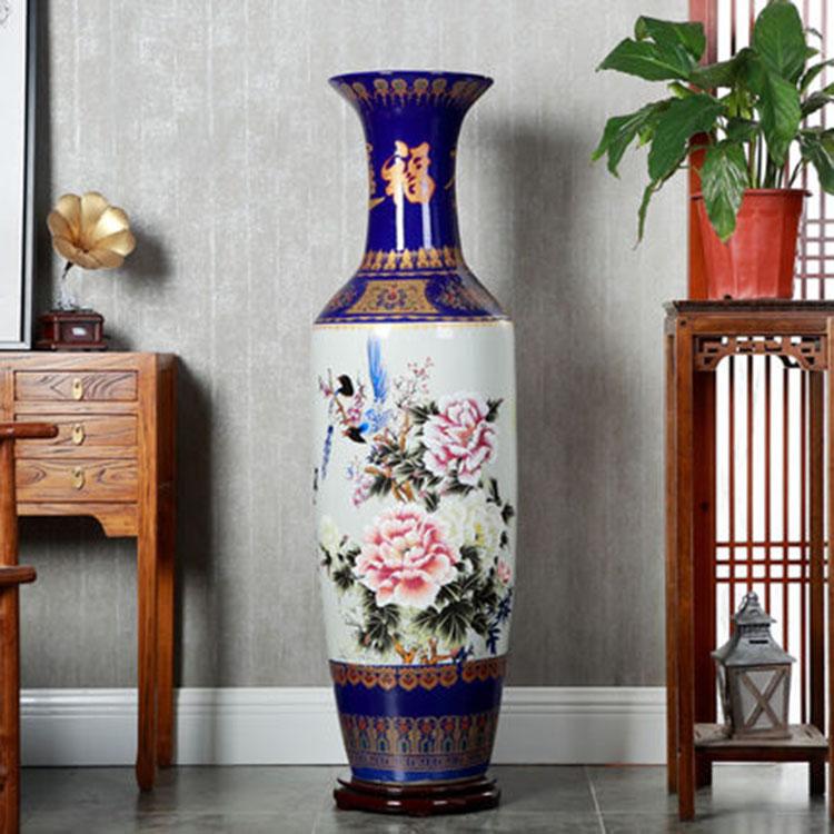 手绘粉彩花开富贵落地大花瓶