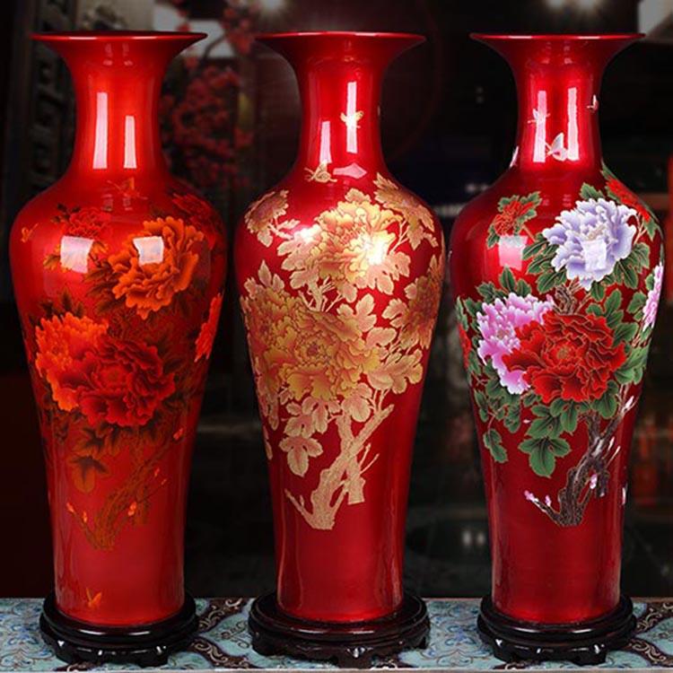 大花瓶中国红落地大花瓶