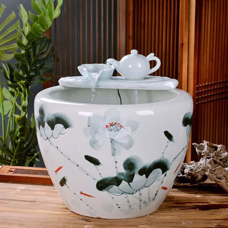 景德镇陶瓷鱼缸养金鱼缸