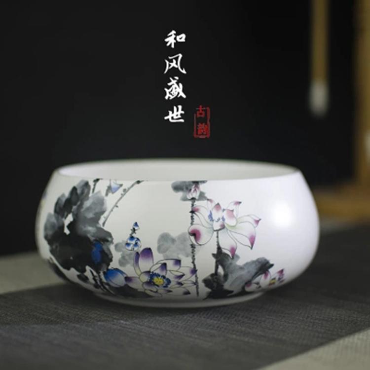 大号陶瓷笔洗装饰缸