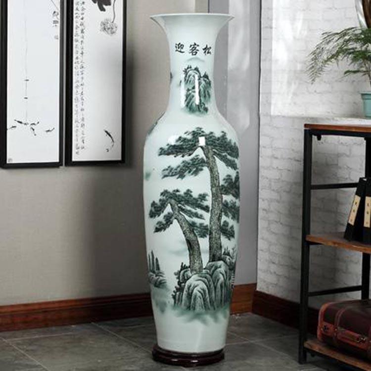 新品手绘陶瓷青花大花瓶1.2m定制