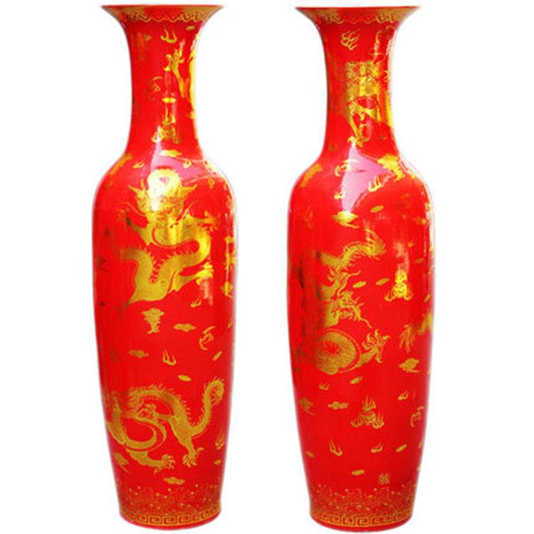 景德镇陶瓷器中国红花瓶