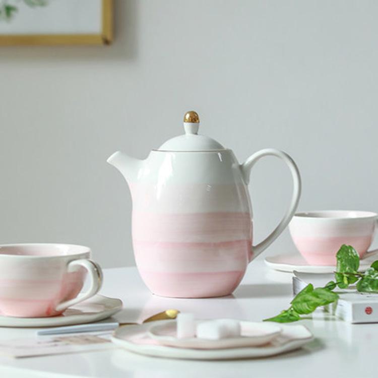 骨瓷咖啡壶欧式陶瓷下午茶茶壶花茶壶英式家用水壶套装陶瓷红茶壶