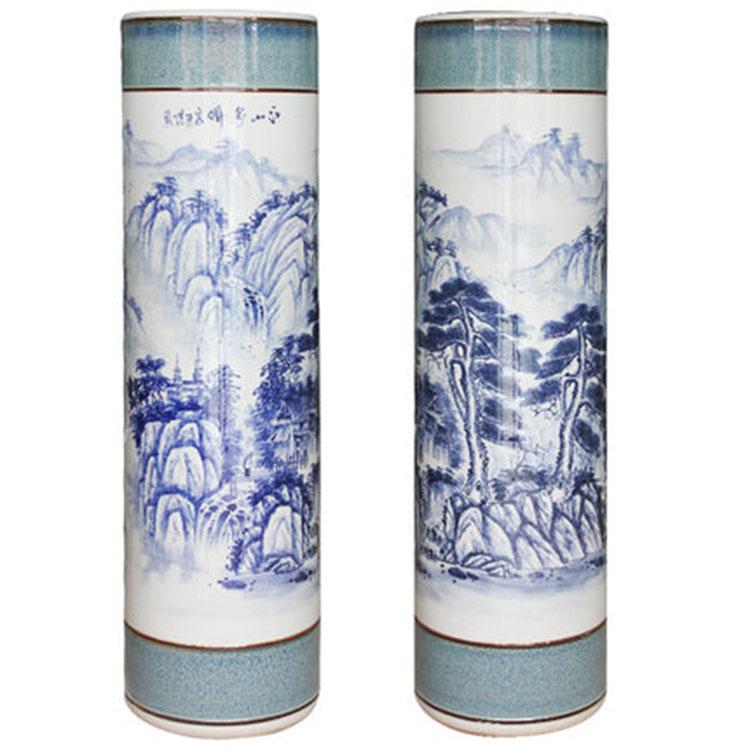 新品手绘落地柱形大花瓶