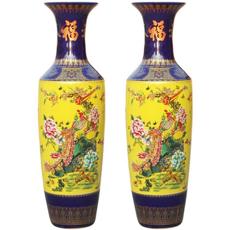 景德镇陶瓷手工雕刻落地花瓶