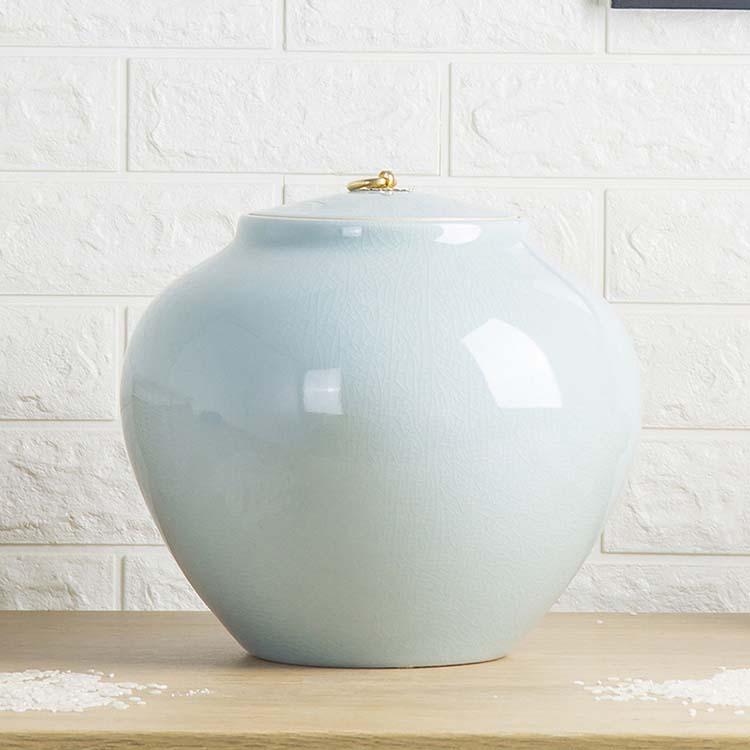 陶瓷米缸米桶储米箱10kg20斤装带盖手工影青瓷茶叶缸茶水缸干货厨房收纳储物