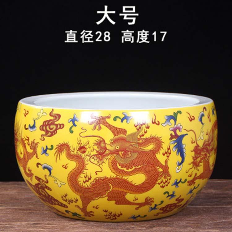 景德镇陶瓷器手绘金鱼缸
