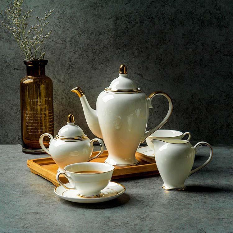 欧式下午茶茶具套装英式咖啡杯包金骨瓷茶壶家用咖啡套具小奢华