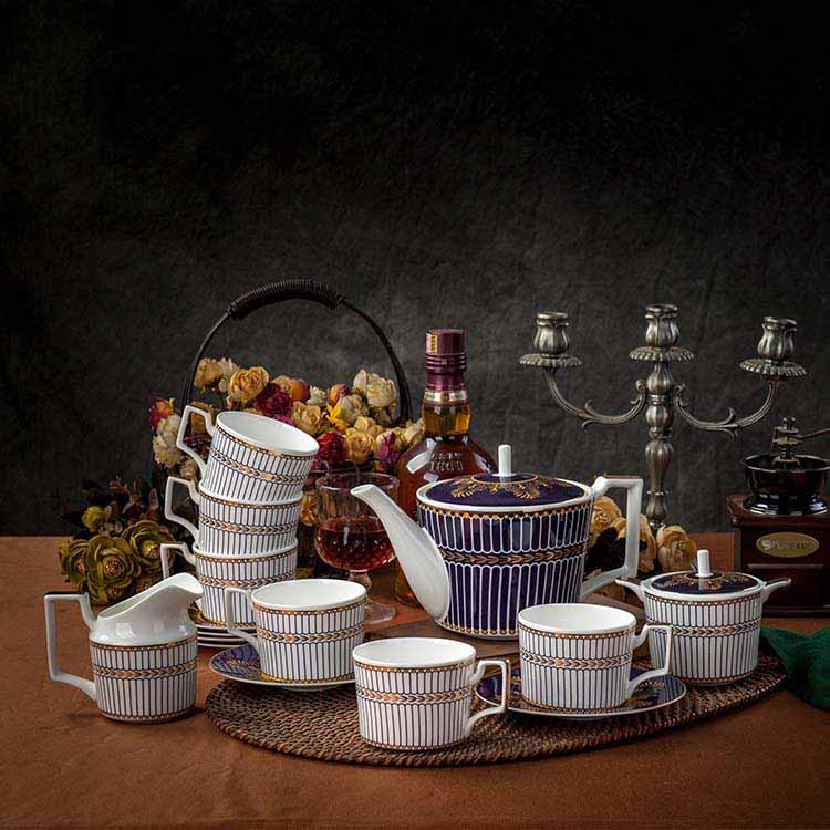 欧式咖啡具套装家用带托盘英式下午茶陶瓷咖啡小奢华套具结婚礼物