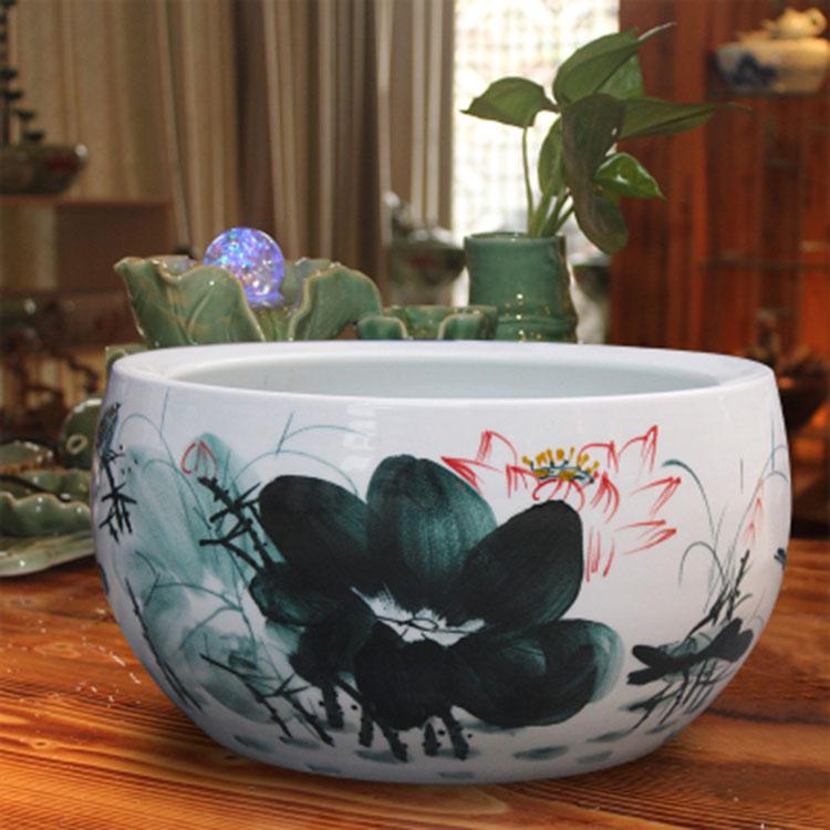 景德镇陶瓷小型鱼缸乌龟缸客厅摆件