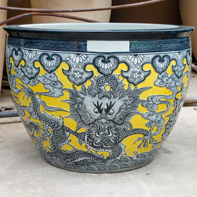 手工雕龙陶瓷花盆仿古大缸
