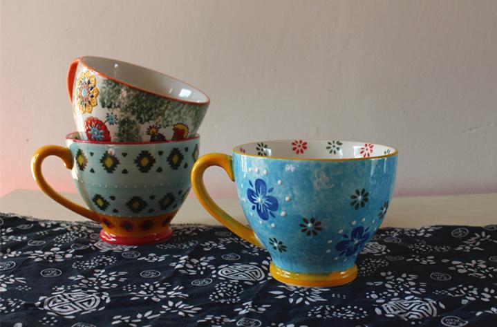 手绘花卉陶瓷咖啡具