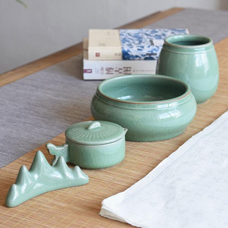 青瓷陶瓷三件套可定制