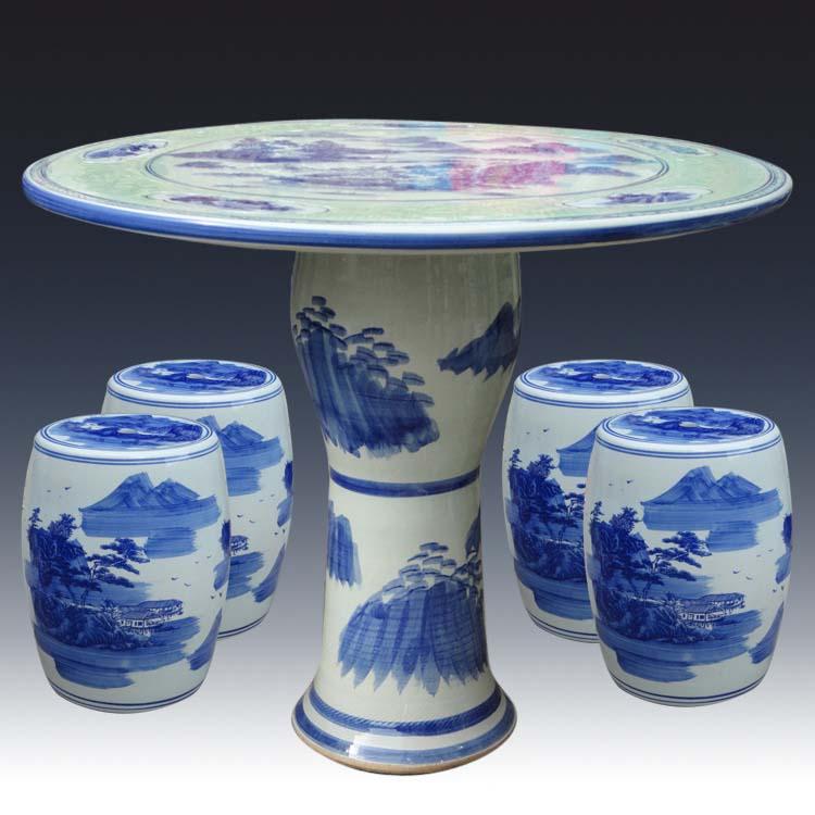 景德镇陶瓷桌子凳子套装瓷凳瓷桌凳1.2米加厚餐桌椅牡丹庭院摆设