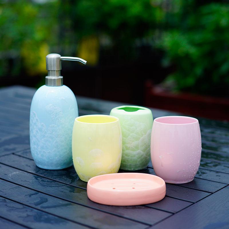 牙杯陶瓷卫浴五件套欧式洗漱杯套装漱口杯牙刷杯牙具卫生间浴室用品