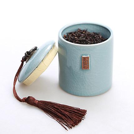 官哥汝定钧窑茶叶罐陶瓷茶罐小号普洱装茶叶盒便携迷你旅行密封