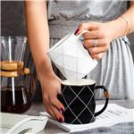 描金新款黑白格子陶瓷杯