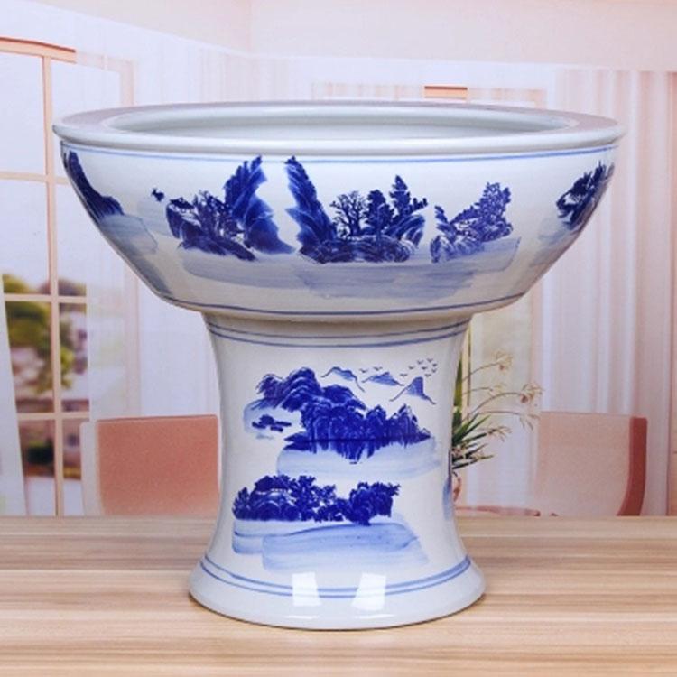 景德镇陶瓷器大号落地立柱式鱼缸