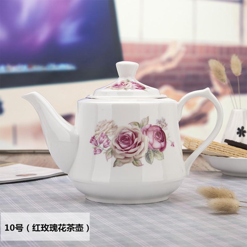 陶瓷冷水壶大号茶壶骨瓷凉水壶家用红茶耐热泡茶壶单壶咖啡壶