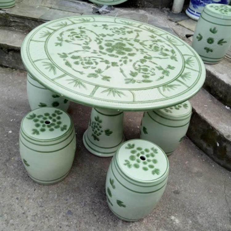 陶瓷桌子凳子套装手绘竹报平安户外庭院