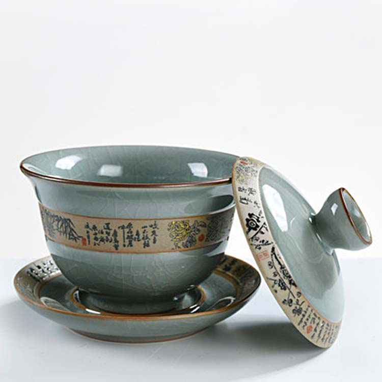 景德镇三才盖碗茶杯单个甜白瓷功夫茶具家用陶瓷薄胎泡茶套装