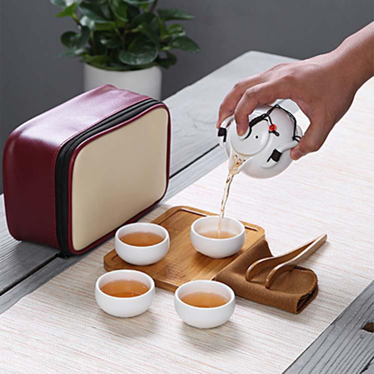 便携式小包定制一壶二杯两杯功夫茶茶具旅行套装收纳黑陶快客杯