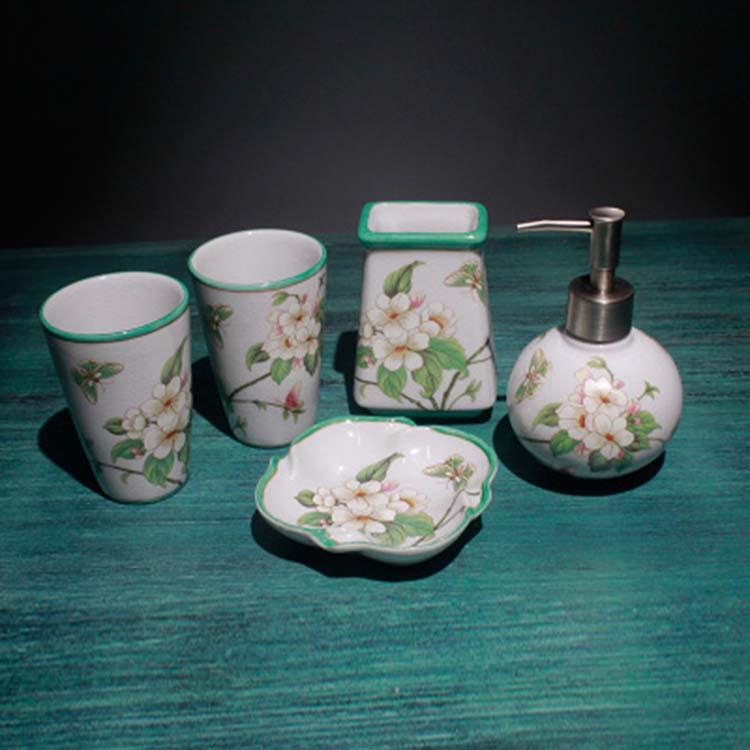 骨瓷卫生间浴室牙刷牙漱口杯卫浴洗漱用品套装陶瓷五件套
