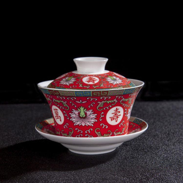 景德镇泡茶盖碗陶瓷盖碗单个茶杯套装大号盖子三才白瓷青花盖碗