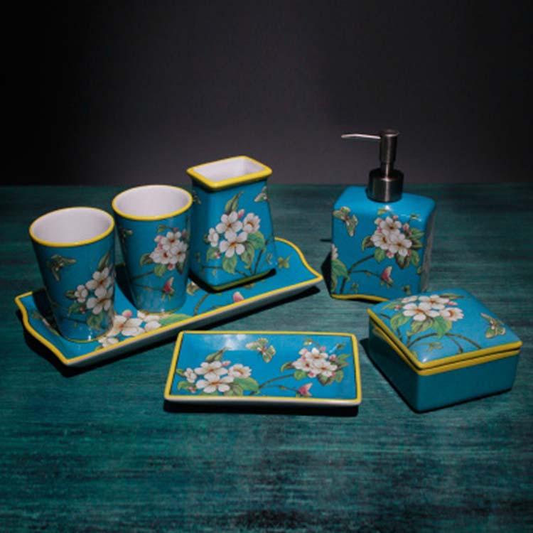 刷牙杯洗漱套浴室洗漱用品卫生间装奢华欧式陶瓷卫浴五六件套