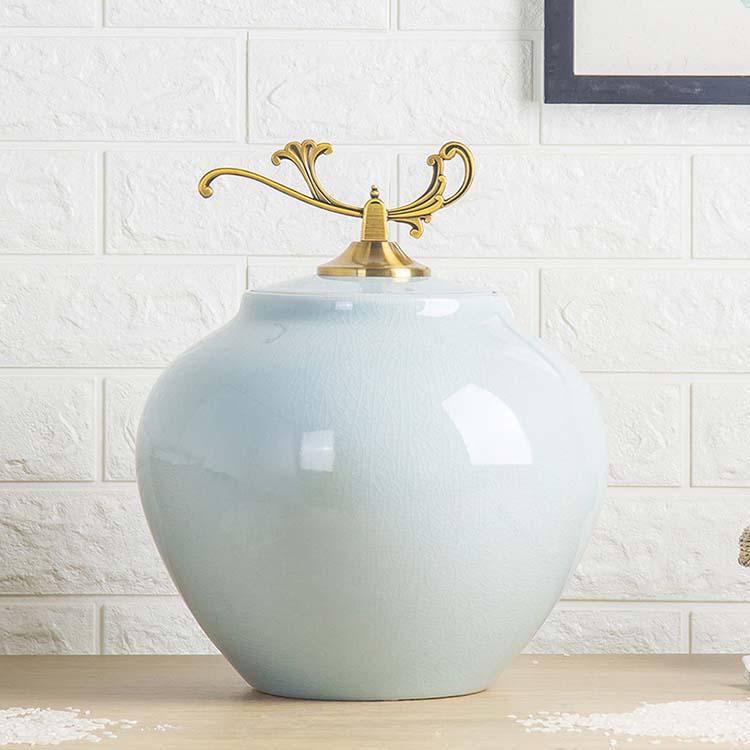景德镇陶瓷米缸米桶储米箱10斤 厨房家用带盖密封储物罐防虫防潮