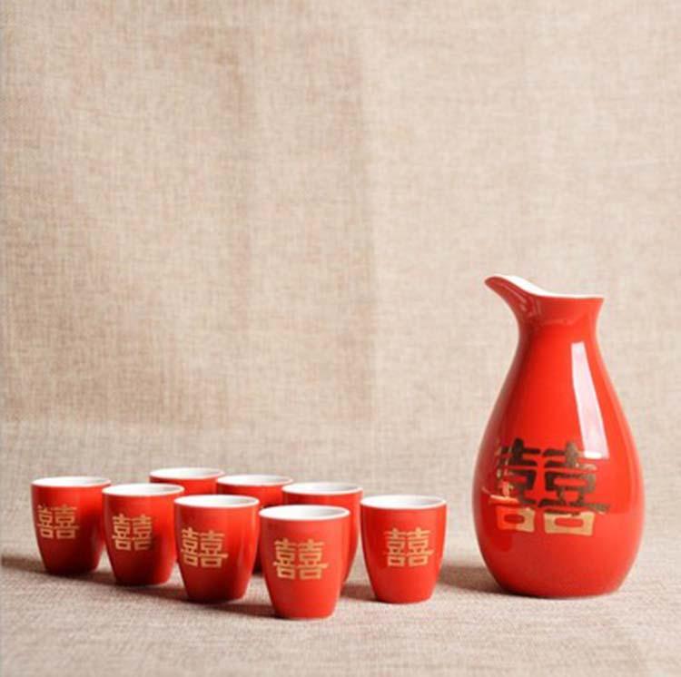 陶瓷双喜酒具结婚敬酒杯古风分酒器