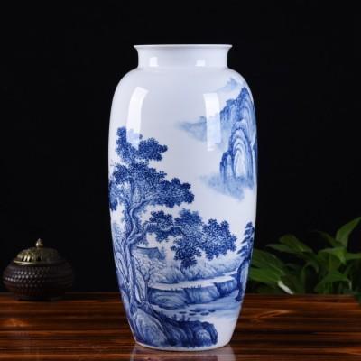 景德镇名师手绘青花瓷艺术花瓶
