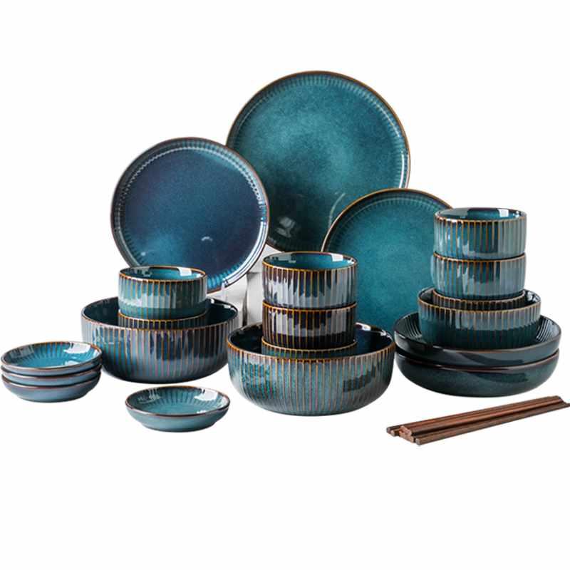 日式蓝釉条纹陶瓷餐具套装