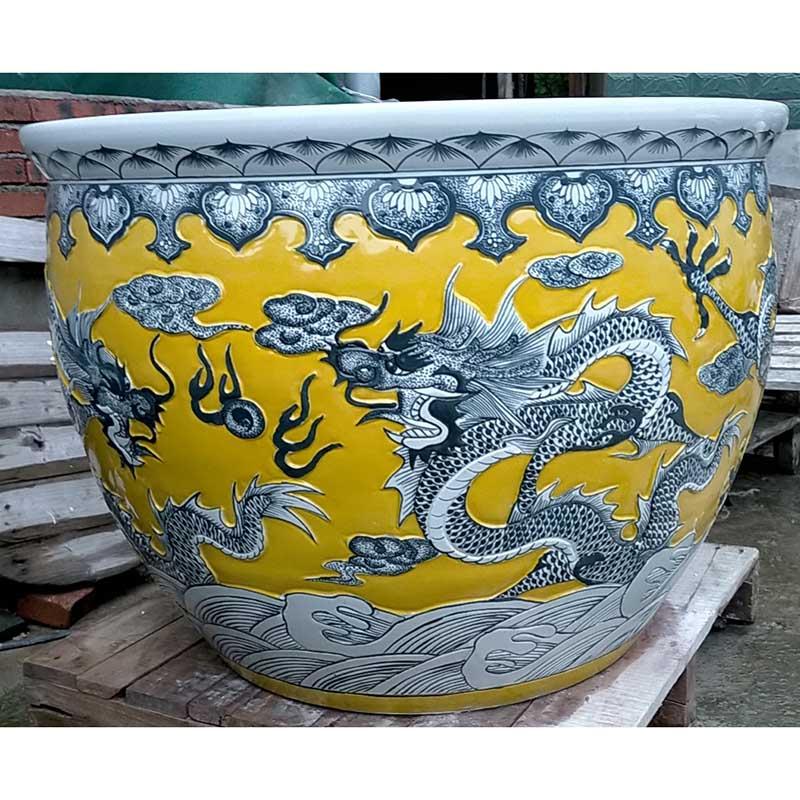 景德镇色釉雕刻龙纹艺术雕刻大缸