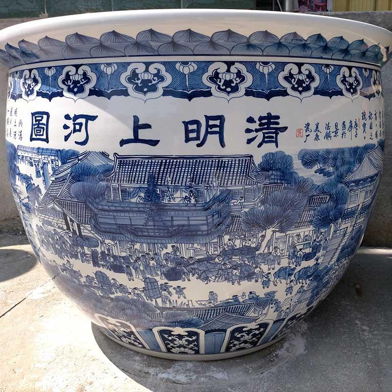 景德镇清明上河图陶瓷荷花鱼缸