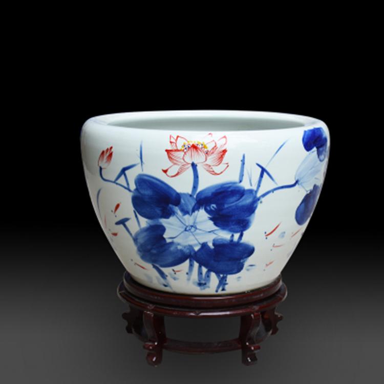 景德镇陶瓷复古金鱼缸